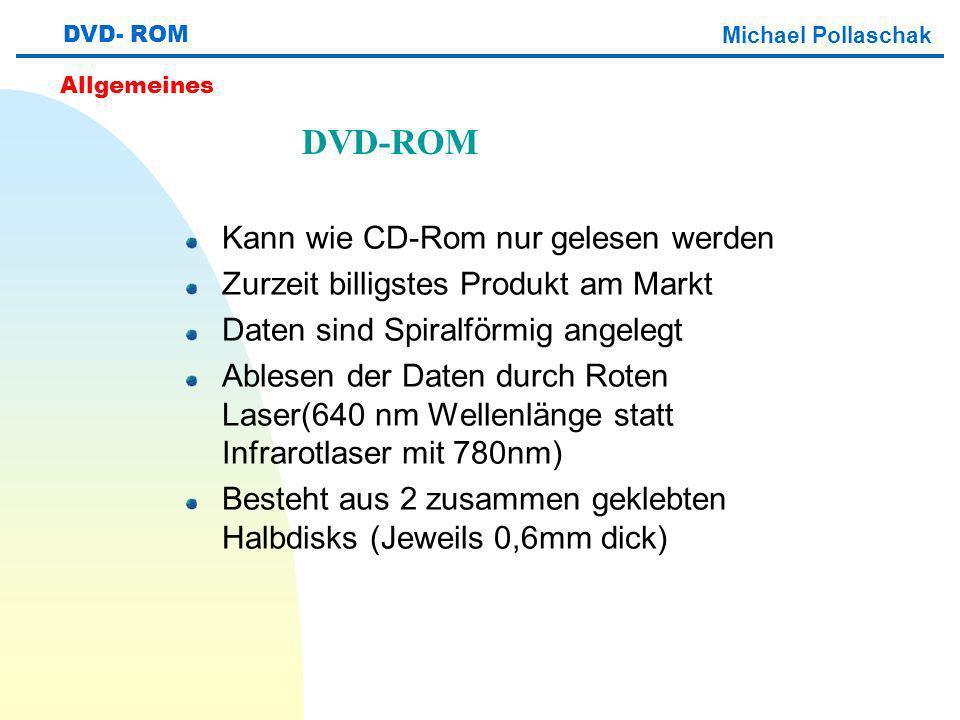 DVD-ROM Kann wie CD-Rom nur gelesen werden