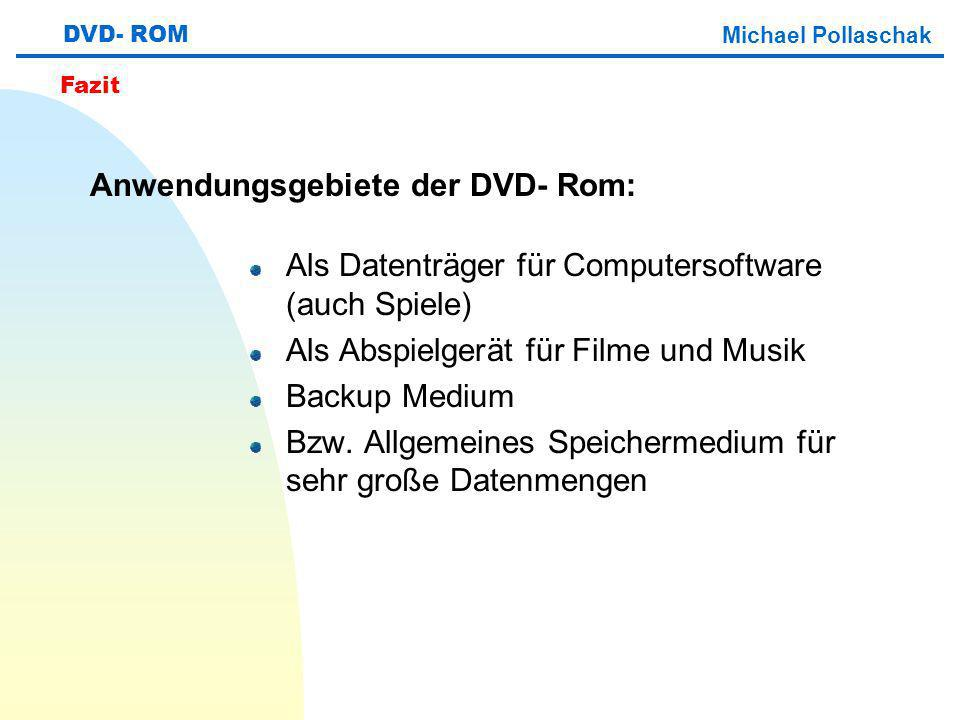 Anwendungsgebiete der DVD- Rom: