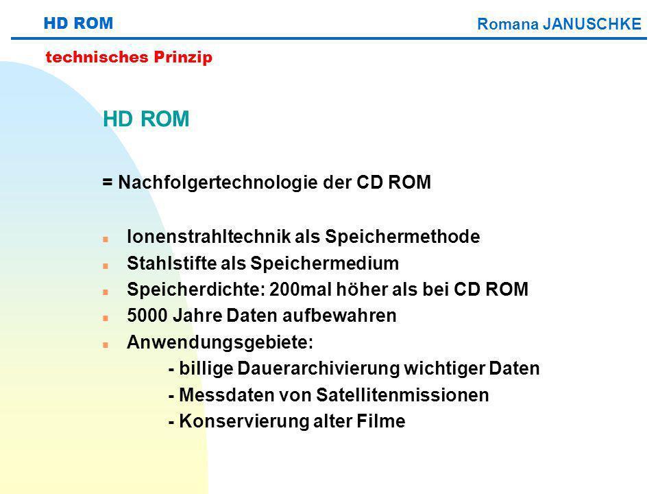 HD ROM = Nachfolgertechnologie der CD ROM