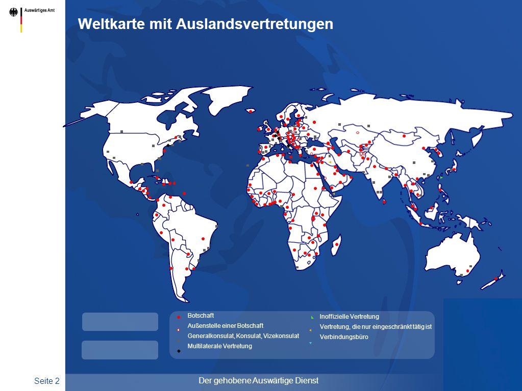 Weltkarte mit Auslandsvertretungen