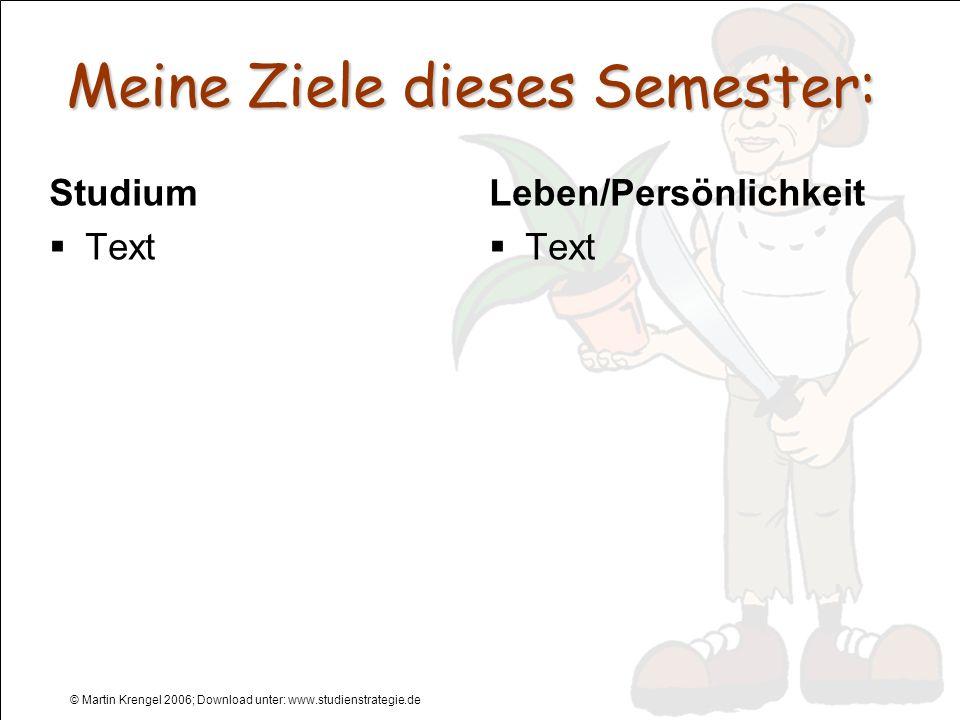Meine Ziele dieses Semester: