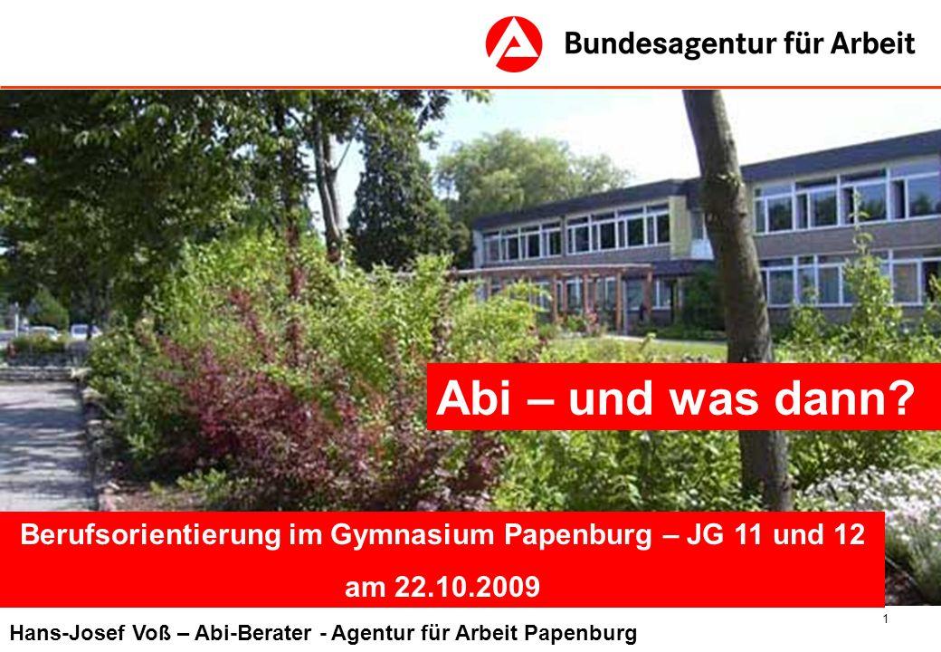 Berufsorientierung im Gymnasium Papenburg – JG 11 und 12
