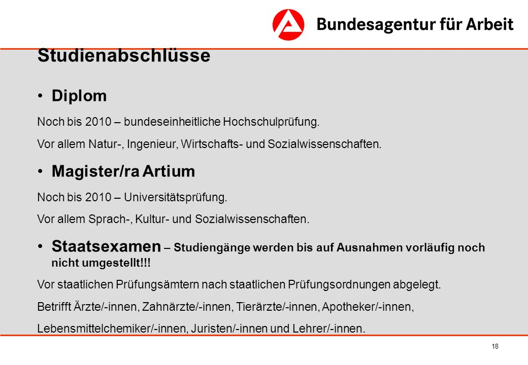 Studienabschlüsse Diplom Magister/ra Artium