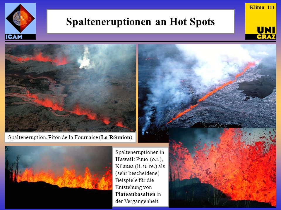 Spalteneruptionen an Hot Spots