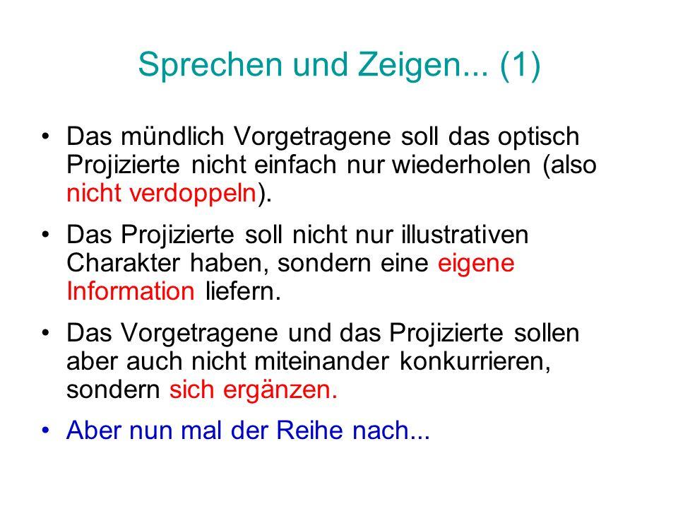 Sprechen und Zeigen... (1) Das mündlich Vorgetragene soll das optisch Projizierte nicht einfach nur wiederholen (also nicht verdoppeln).