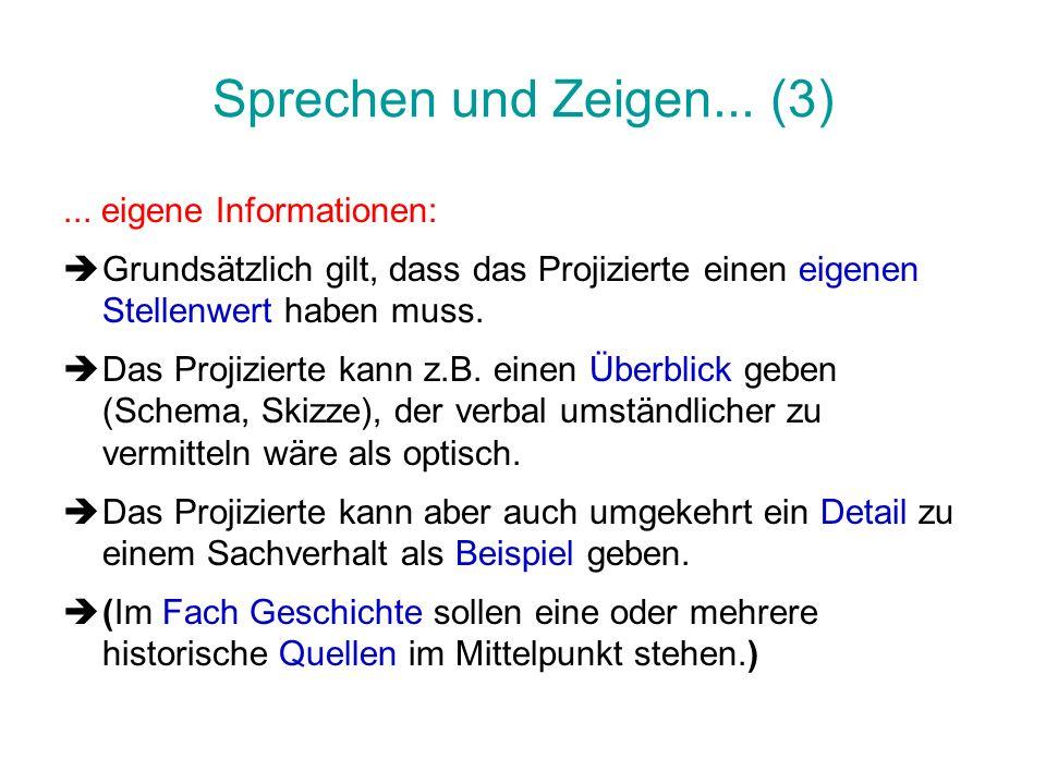 Sprechen und Zeigen... (3) ... eigene Informationen: