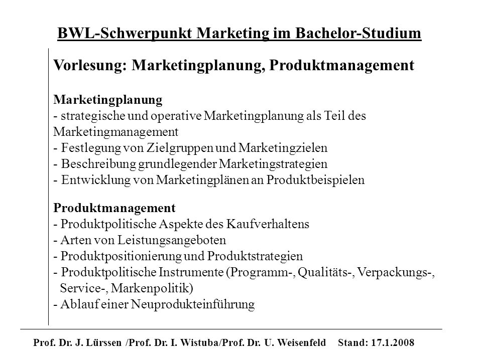 Marketingplanung / Produktmanagement