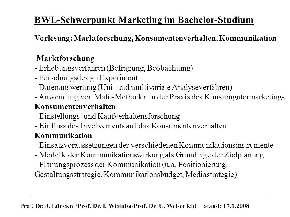 BWL-Schwerpunkt Marketing im Bachelor-Studium