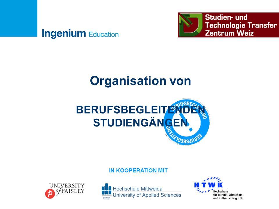 Organisation von BERUFSBEGLEITENDEN STUDIENGÄNGEN