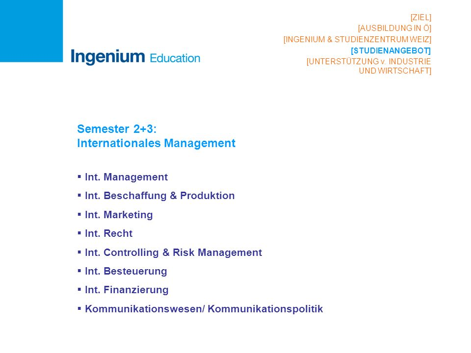 Semester 2+3: Internationales Management