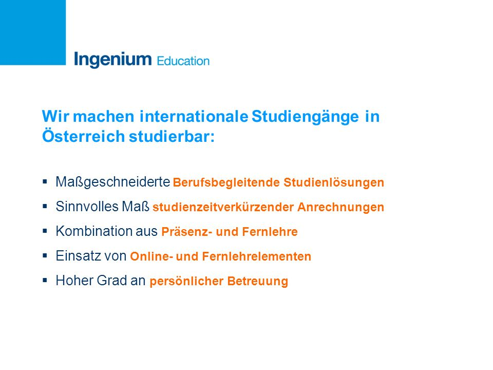 Wir machen internationale Studiengänge in Österreich studierbar: