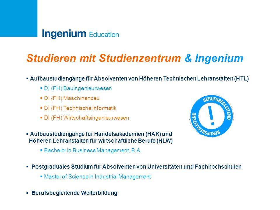 Studieren mit Studienzentrum & Ingenium