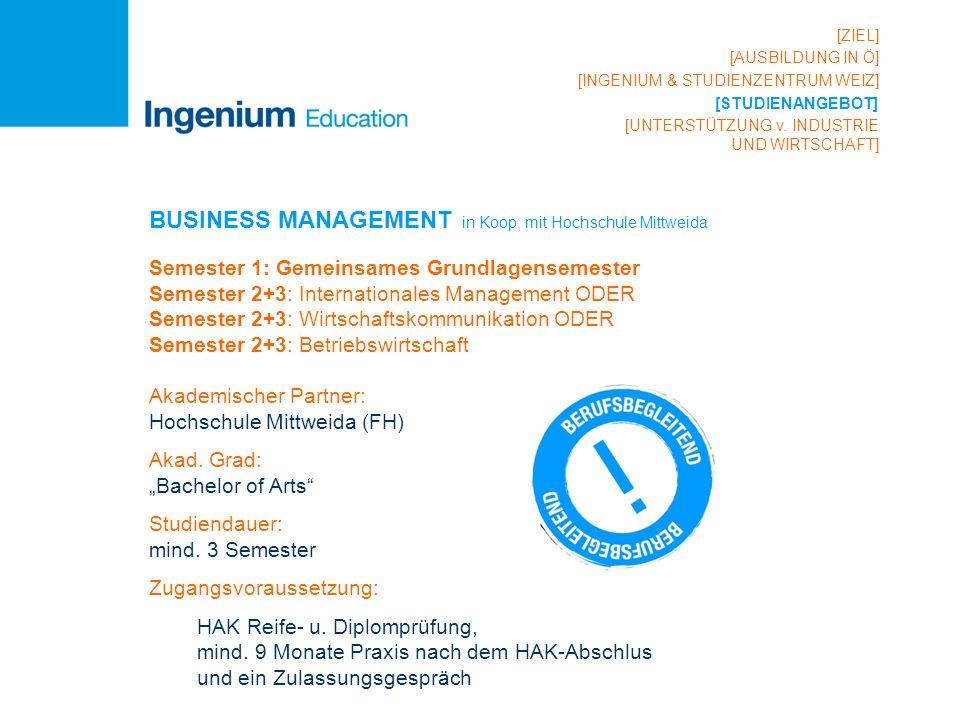 BUSINESS MANAGEMENT in Koop. mit Hochschule Mittweida