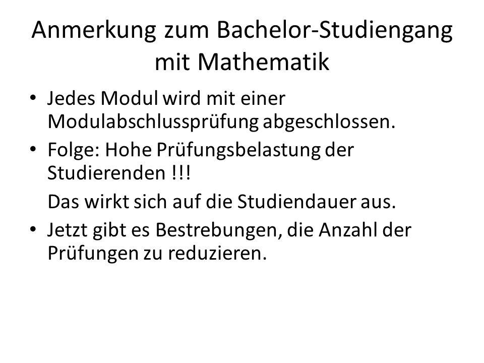 Anmerkung zum Bachelor-Studiengang mit Mathematik