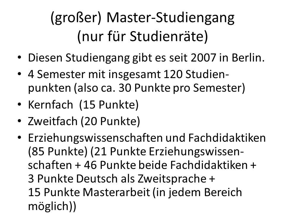 (großer) Master-Studiengang (nur für Studienräte)