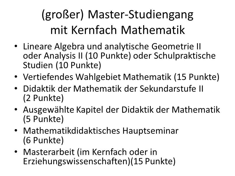 (großer) Master-Studiengang mit Kernfach Mathematik