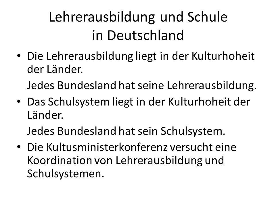 Lehrerausbildung und Schule in Deutschland