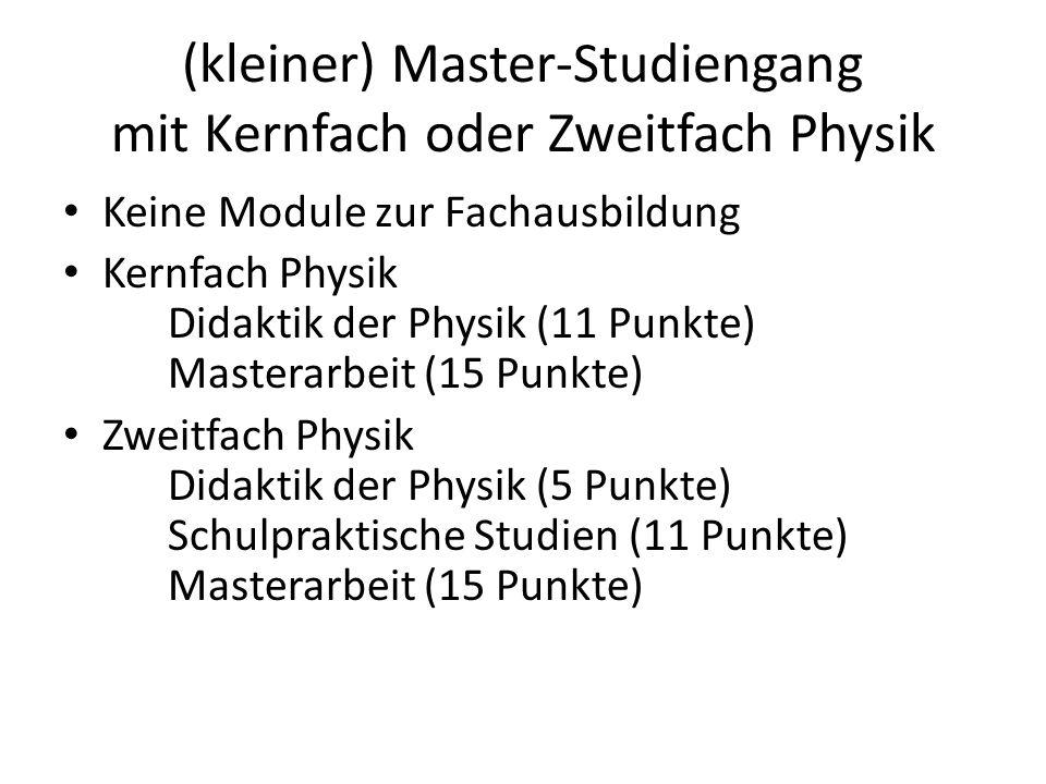 (kleiner) Master-Studiengang mit Kernfach oder Zweitfach Physik
