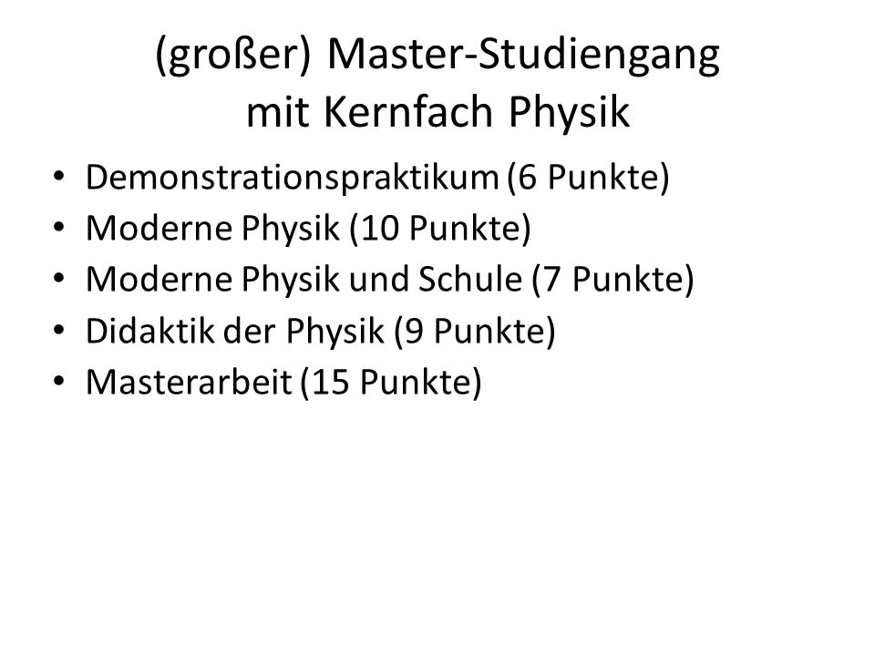 (großer) Master-Studiengang mit Kernfach Physik