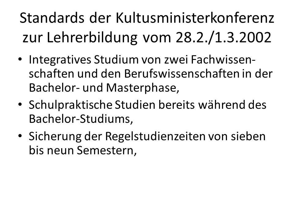 Standards der Kultusministerkonferenz zur Lehrerbildung vom 28. 2. /1
