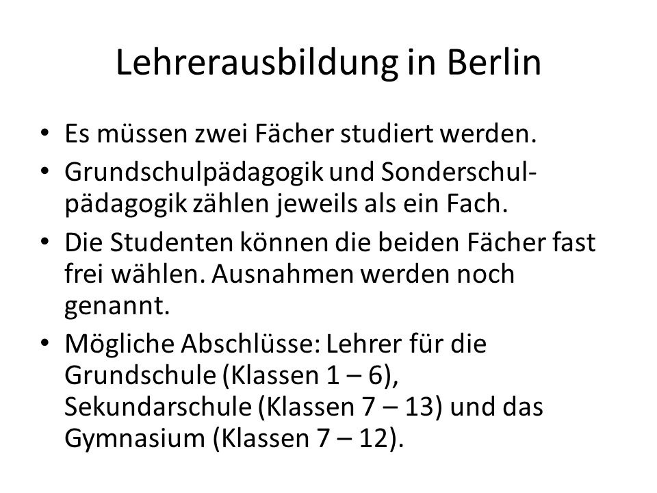 Lehrerausbildung in Berlin