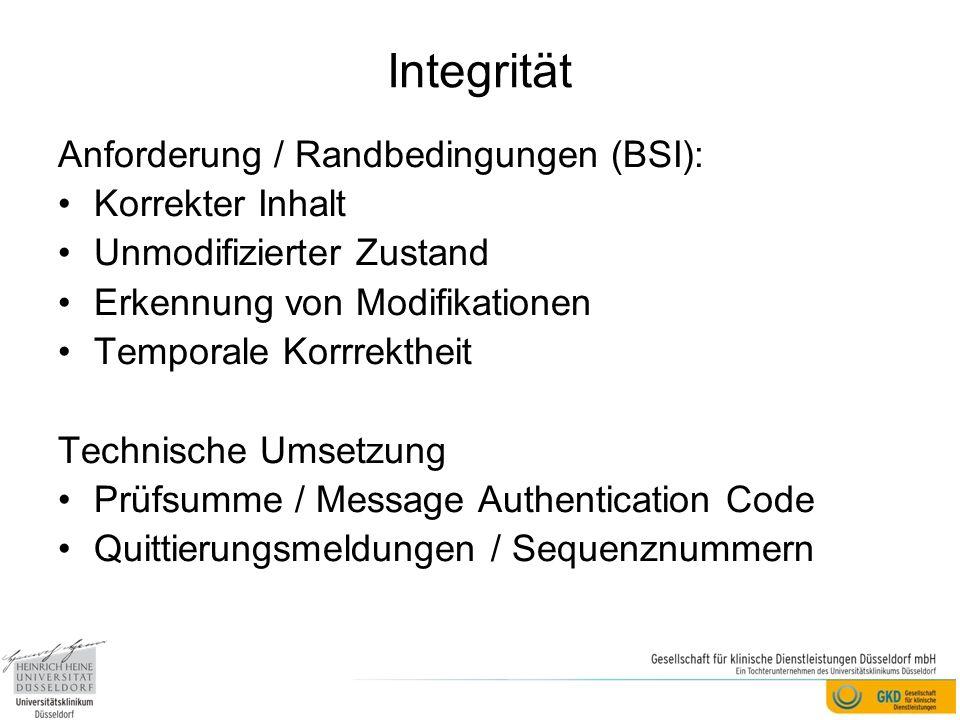 Integrität Anforderung / Randbedingungen (BSI): Korrekter Inhalt