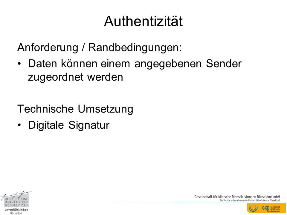 Authentizität Anforderung / Randbedingungen: