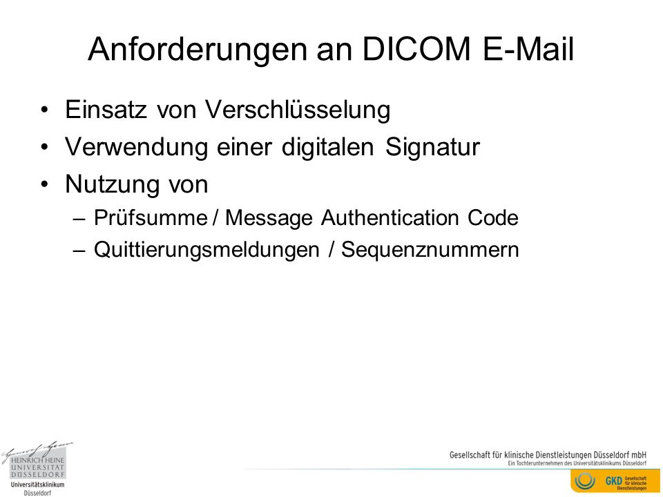 Anforderungen an DICOM E-Mail