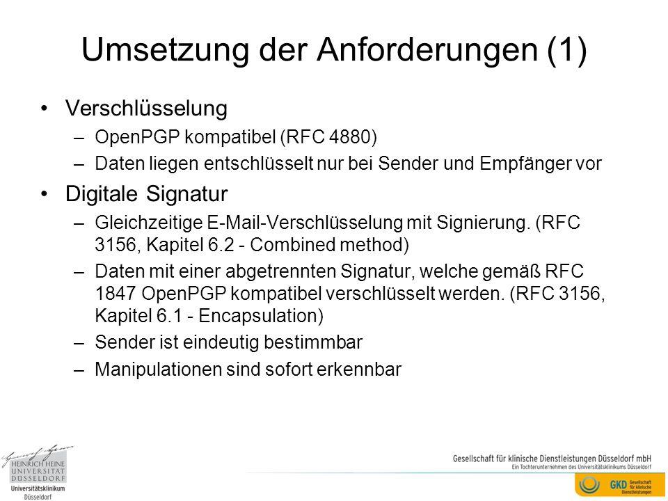Umsetzung der Anforderungen (1)