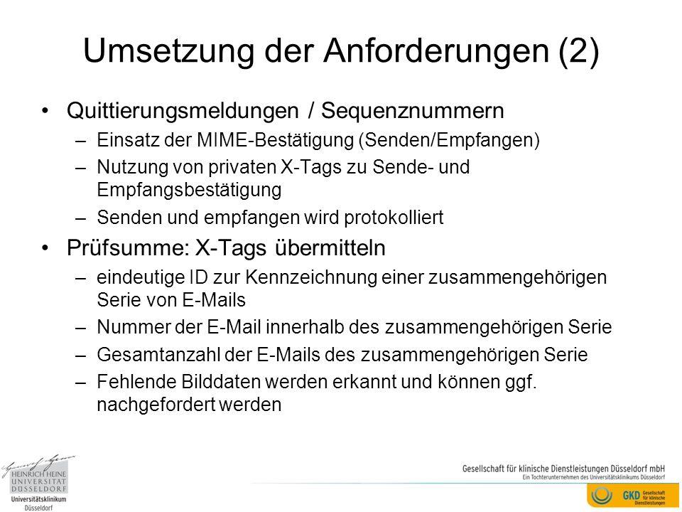 Umsetzung der Anforderungen (2)