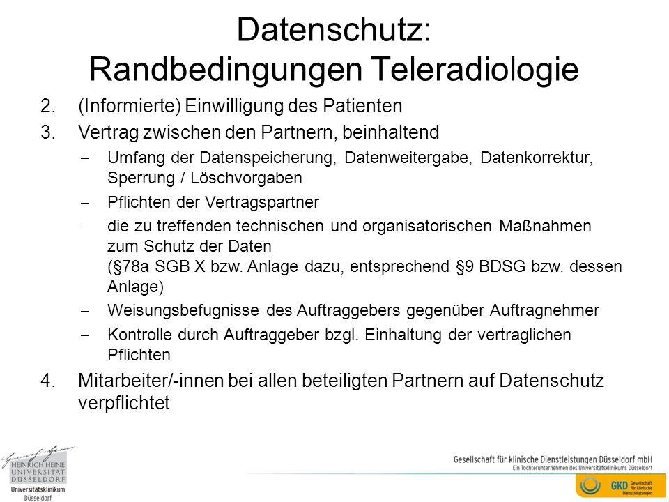 Datenschutz: Randbedingungen Teleradiologie
