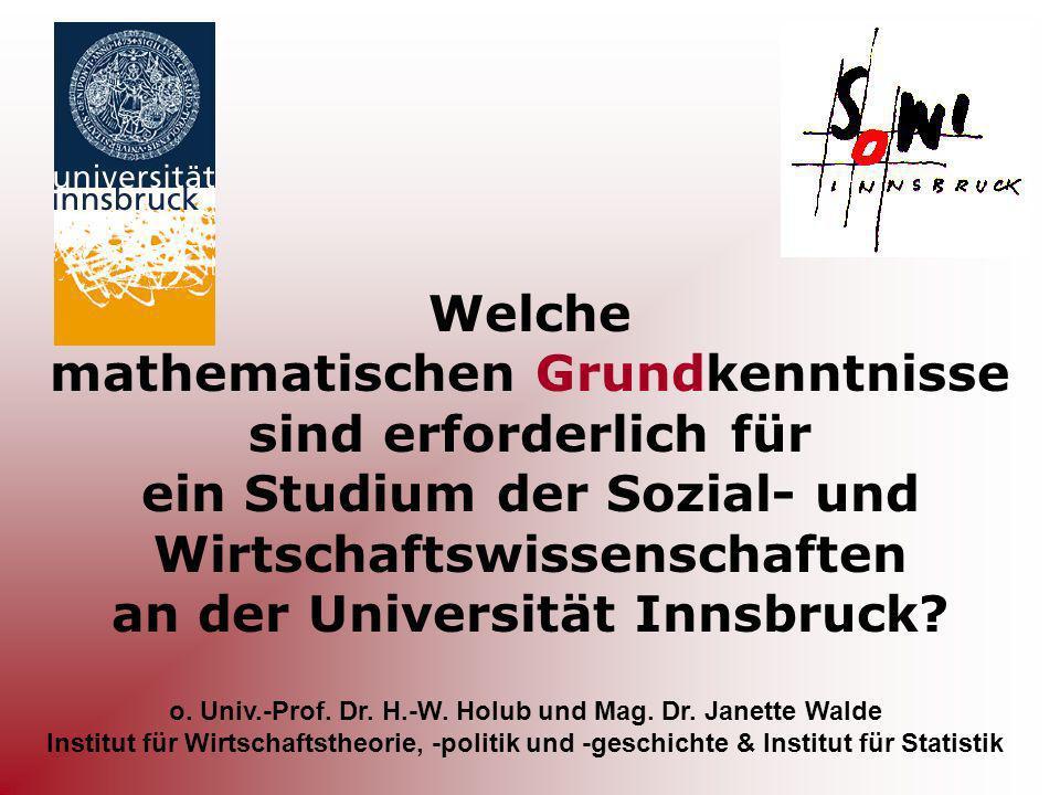 o. Univ.-Prof. Dr. H.-W. Holub und Mag. Dr. Janette Walde