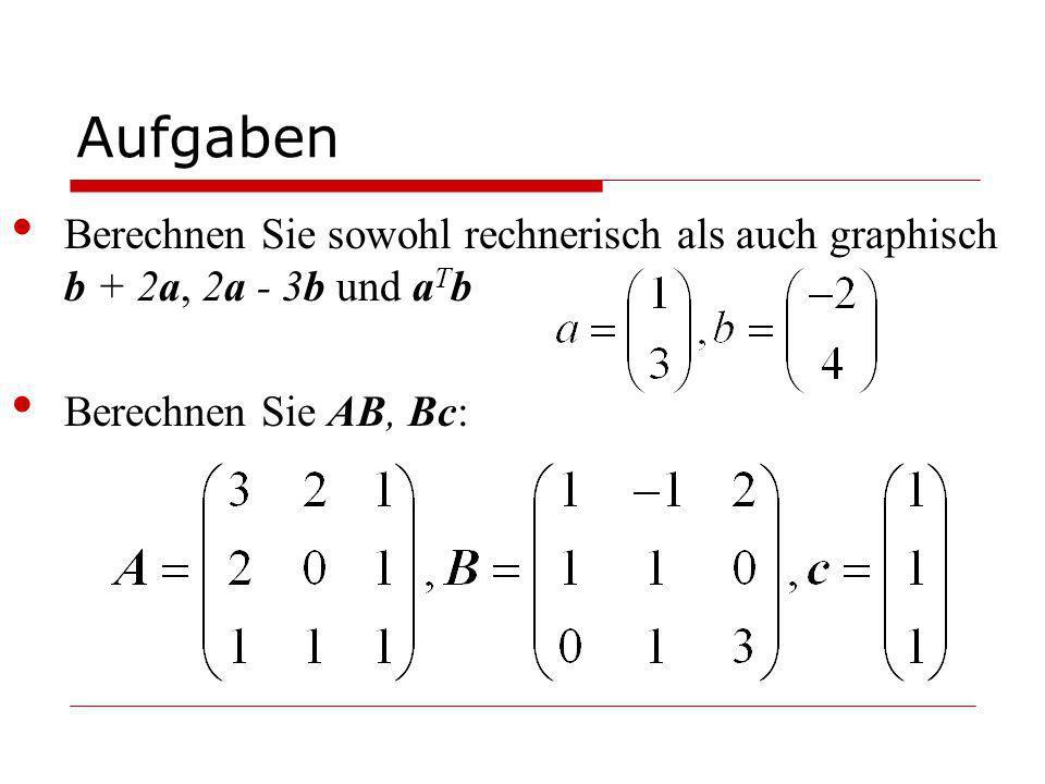 Aufgaben Berechnen Sie sowohl rechnerisch als auch graphisch b + 2a, 2a - 3b und aTb.
