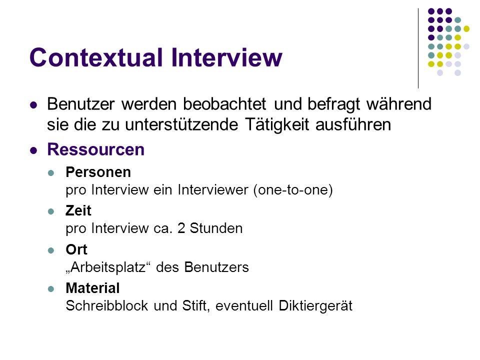 Contextual Interview Benutzer werden beobachtet und befragt während sie die zu unterstützende Tätigkeit ausführen.