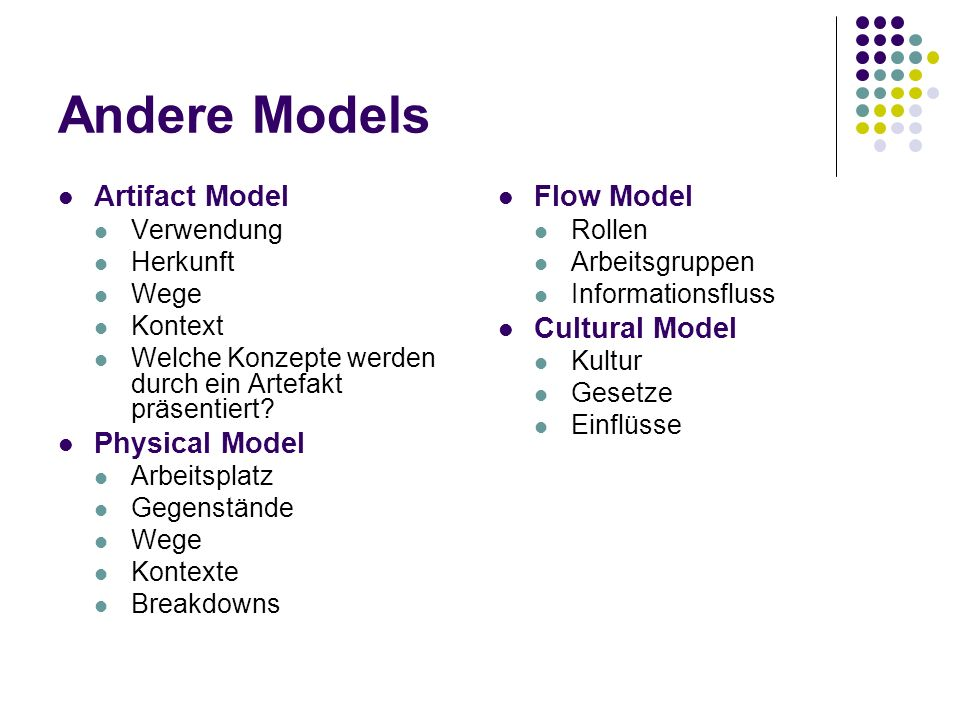 Andere Models Artifact Model Physical Model Flow Model Cultural Model