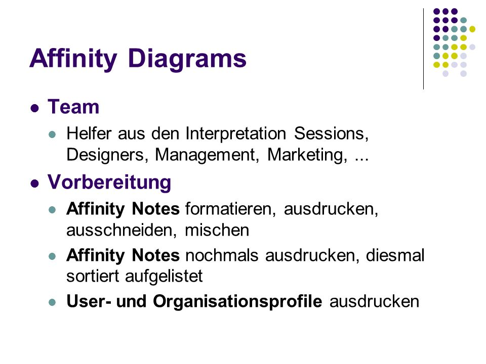 Affinity Diagrams Team Vorbereitung