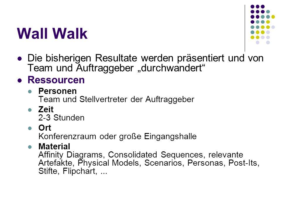 """Wall Walk Die bisherigen Resultate werden präsentiert und von Team und Auftraggeber """"durchwandert Ressourcen."""