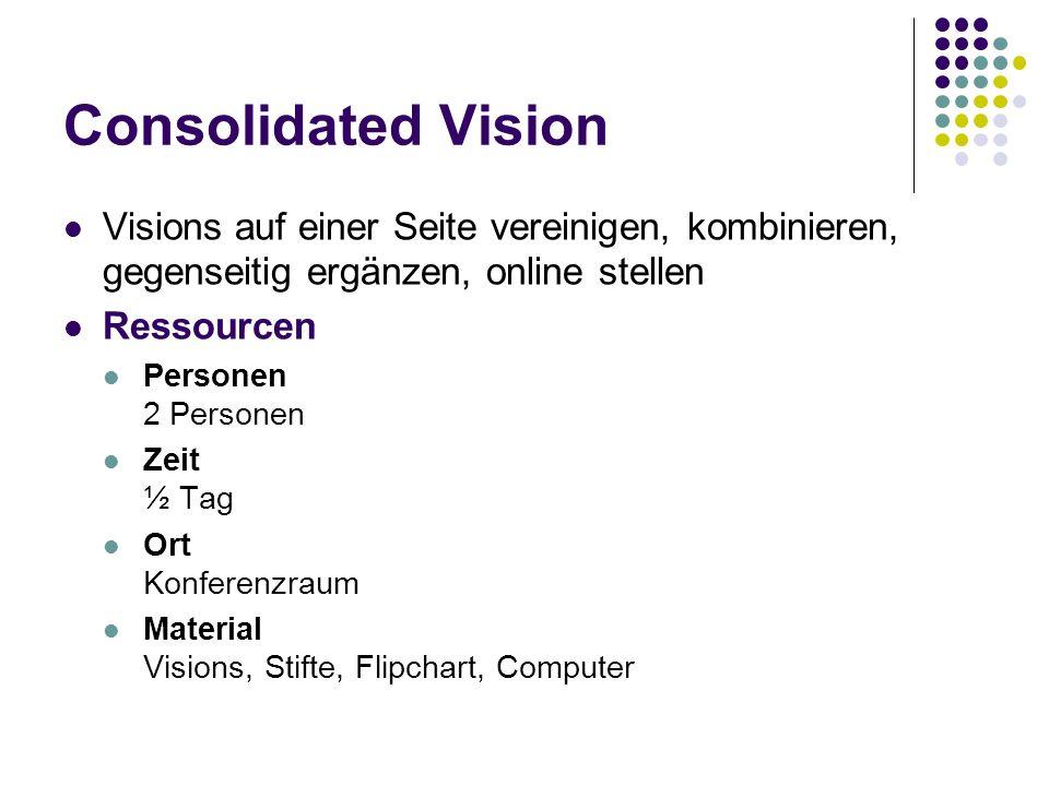 Consolidated Vision Visions auf einer Seite vereinigen, kombinieren, gegenseitig ergänzen, online stellen.