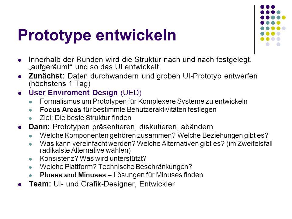 """Prototype entwickeln Innerhalb der Runden wird die Struktur nach und nach festgelegt, """"aufgeräumt und so das UI entwickelt."""