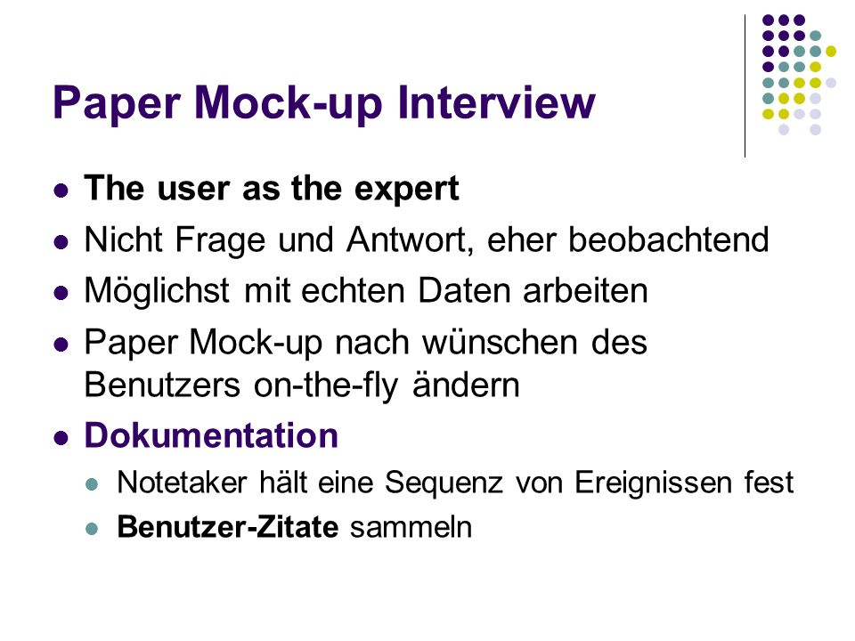 Paper Mock-up Interview
