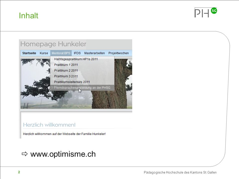 Inhalt  www.optimisme.ch