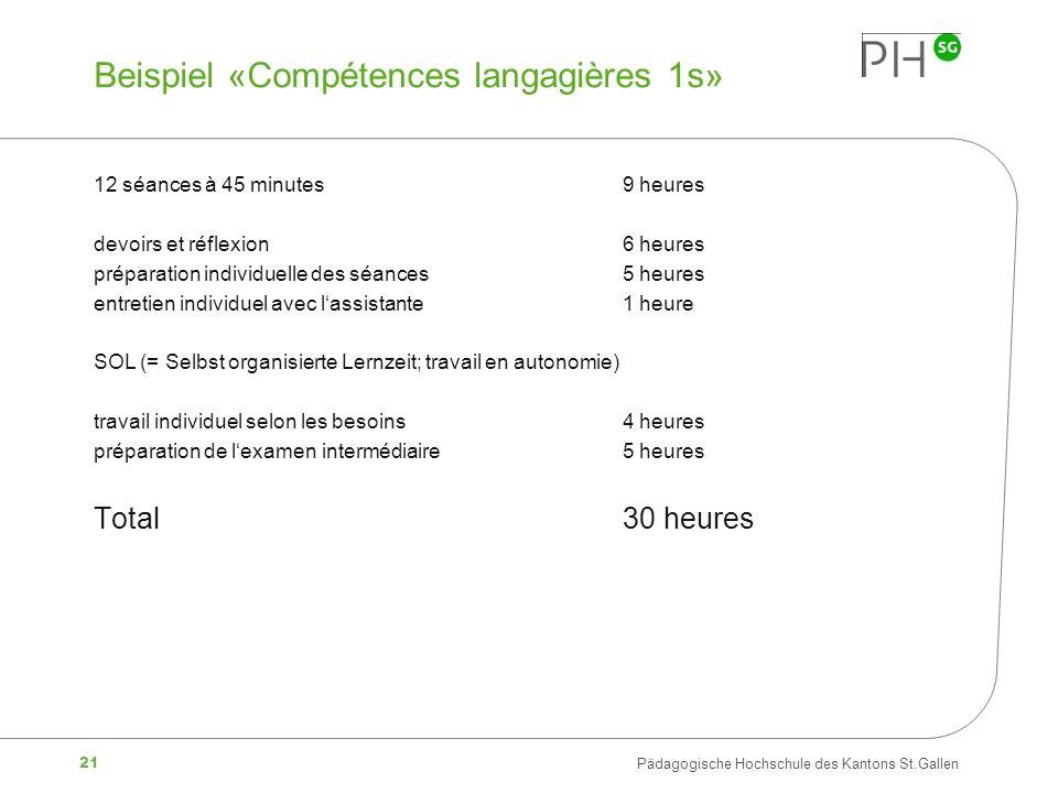 Beispiel «Compétences langagières 1s»
