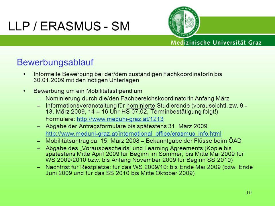 LLP / ERASMUS - SM Bewerbungsablauf