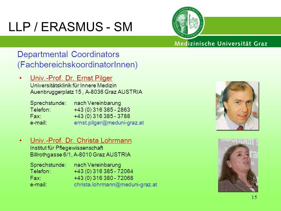 LLP / ERASMUS - SM Departmental Coordinators (FachbereichskoordinatorInnen) Univ.-Prof. Dr. Ernst Pilger.