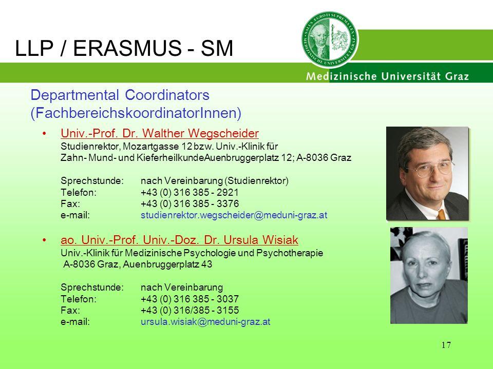 LLP / ERASMUS - SM Departmental Coordinators (FachbereichskoordinatorInnen) Univ.-Prof. Dr. Walther Wegscheider.