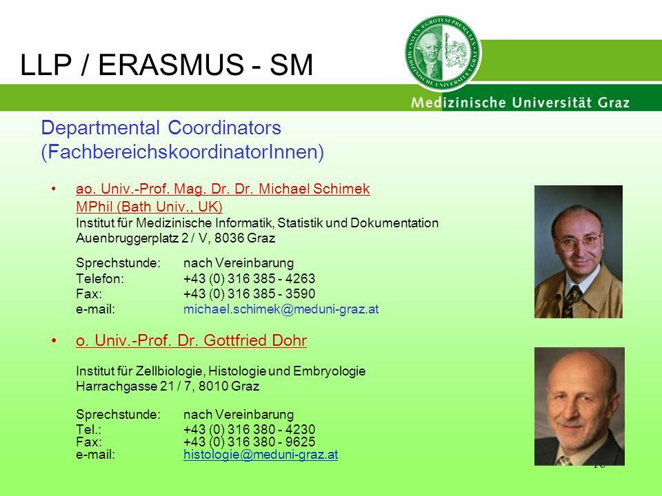 LLP / ERASMUS - SM Departmental Coordinators (FachbereichskoordinatorInnen) ao. Univ.-Prof. Mag. Dr. Dr. Michael Schimek.