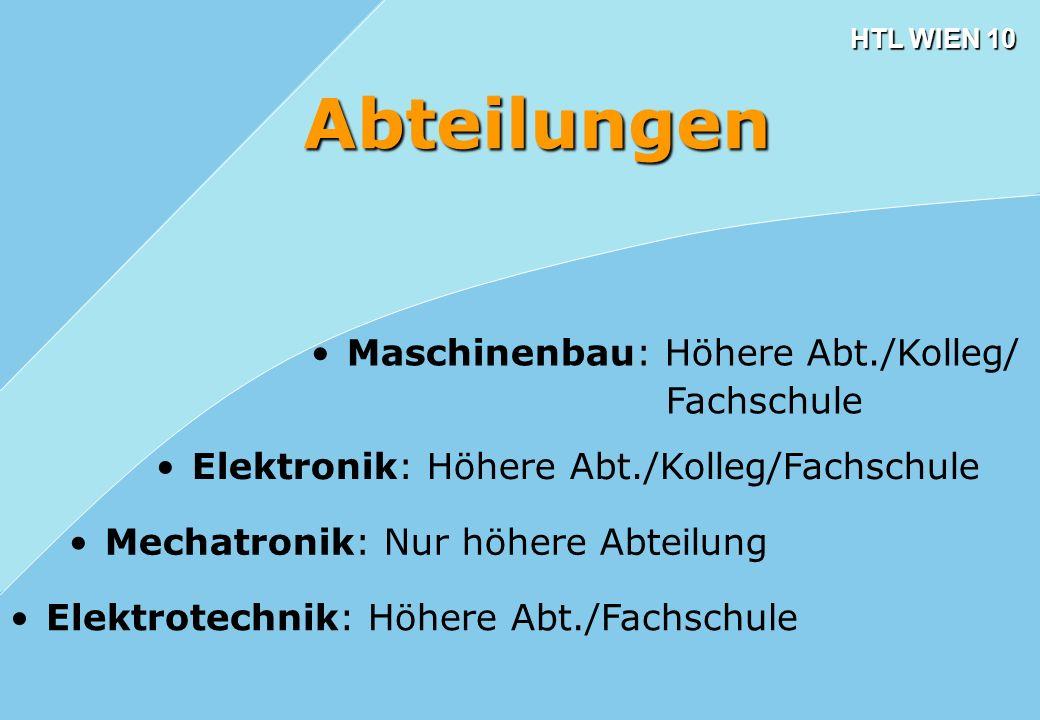 Abteilungen Maschinenbau: Höhere Abt./Kolleg/ Fachschule