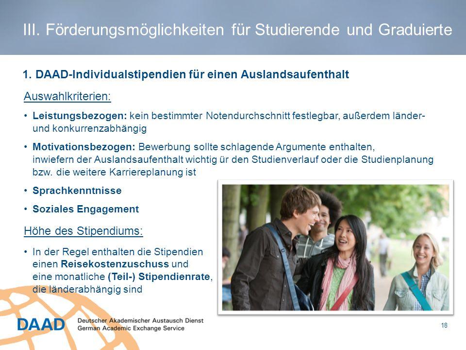 III. Förderungsmöglichkeiten für Studierende und Graduierte