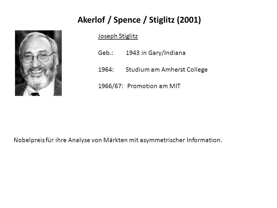 Akerlof / Spence / Stiglitz (2001)