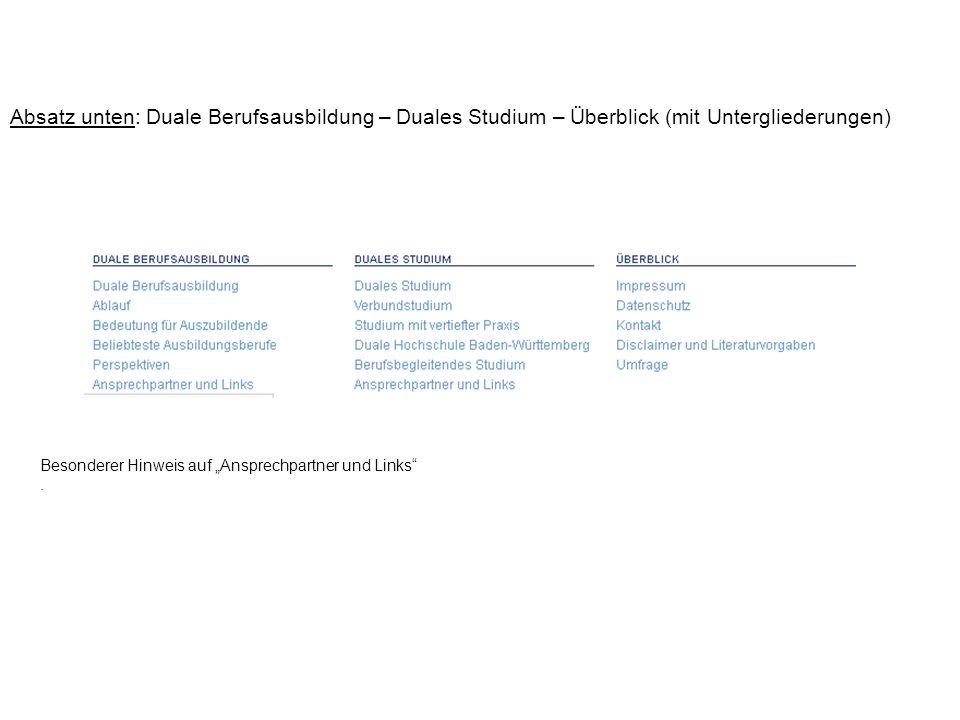 Absatz unten: Duale Berufsausbildung – Duales Studium – Überblick (mit Untergliederungen)